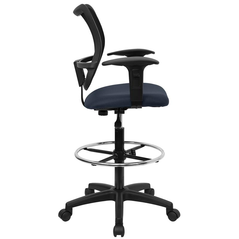 Mid-Back Navy Blue Mesh Drafting Chair with Adjustable Arms. Picture 2