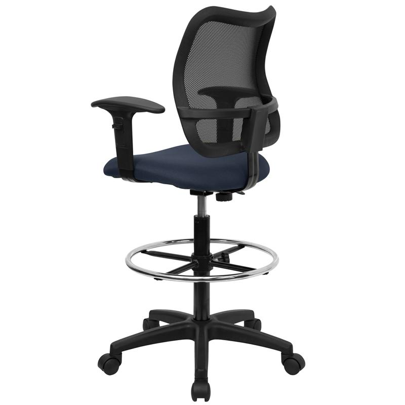 Mid-Back Navy Blue Mesh Drafting Chair with Adjustable Arms. Picture 3