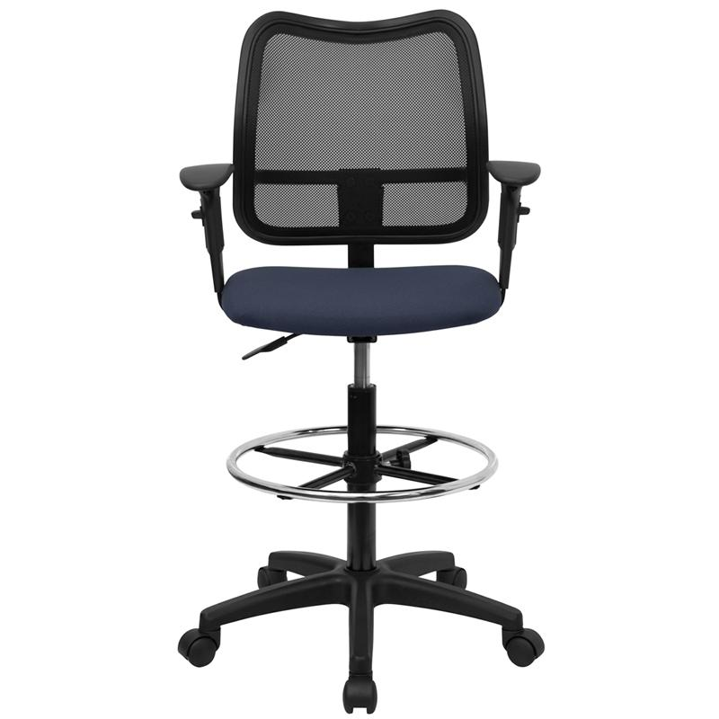 Mid-Back Navy Blue Mesh Drafting Chair with Adjustable Arms. Picture 4