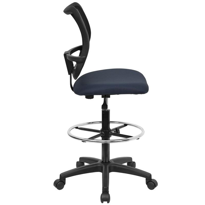 Mid-Back Navy Blue Mesh Drafting Chair. Picture 2