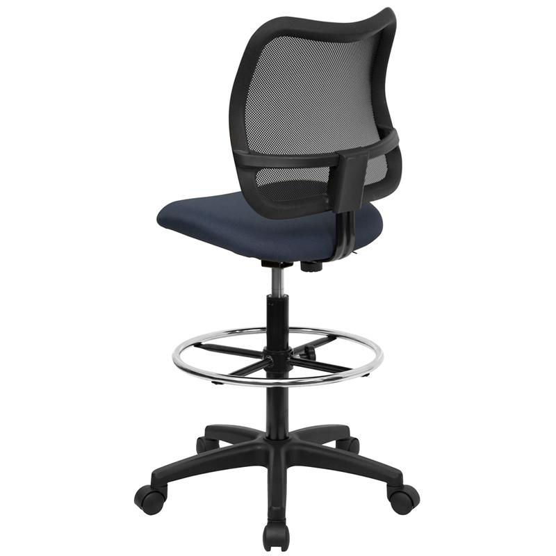 Mid-Back Navy Blue Mesh Drafting Chair. Picture 3