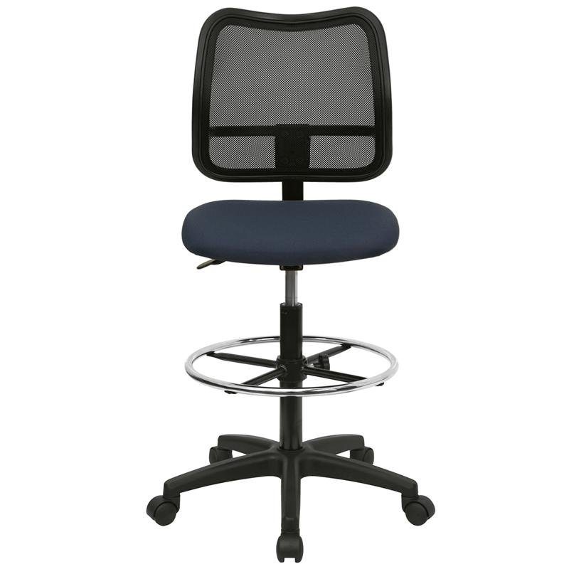 Mid-Back Navy Blue Mesh Drafting Chair. Picture 4