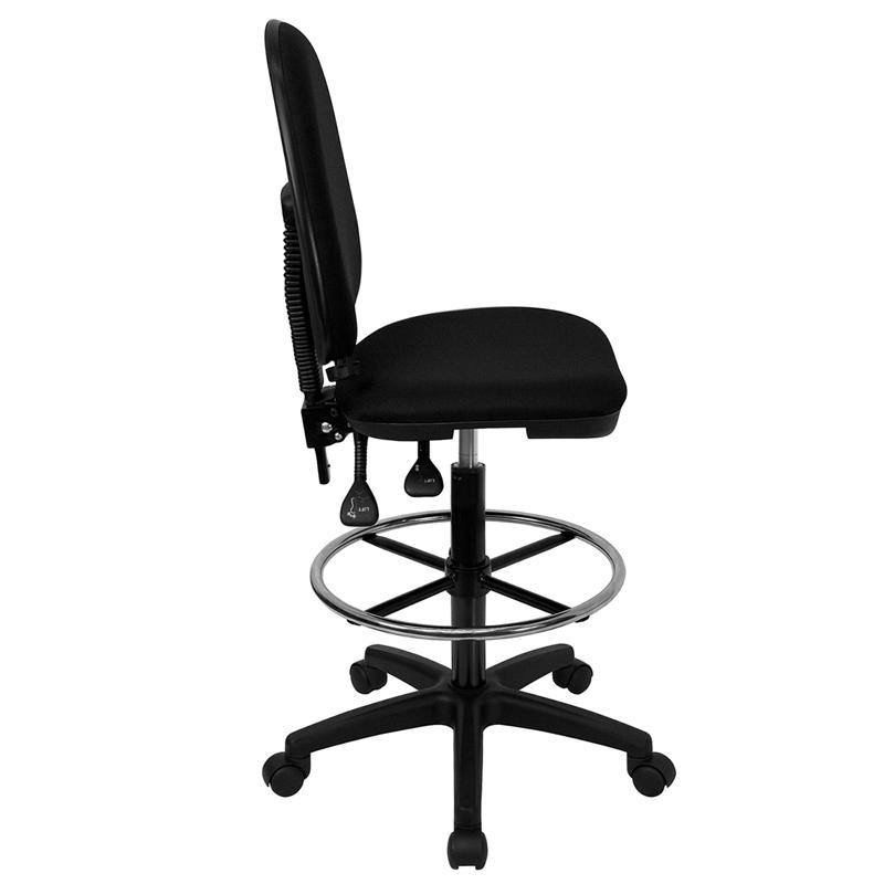 Mid Back Black Fabric Multifunction Drafting Chair With