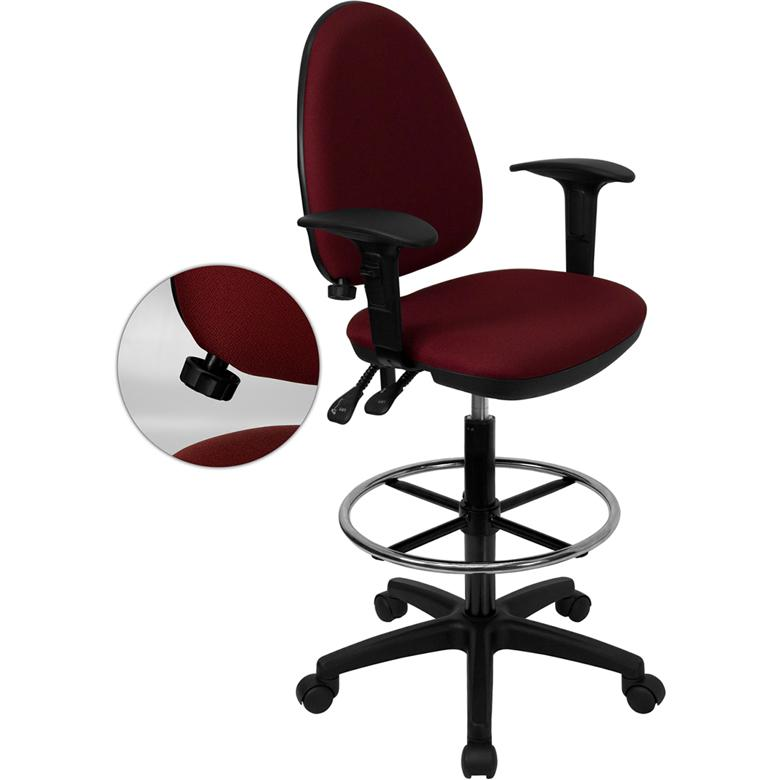 Burgundy Fabric Ergonomic Drafting Chair-Adjustable Lumbar Support, Adjustable Arms. Picture 1