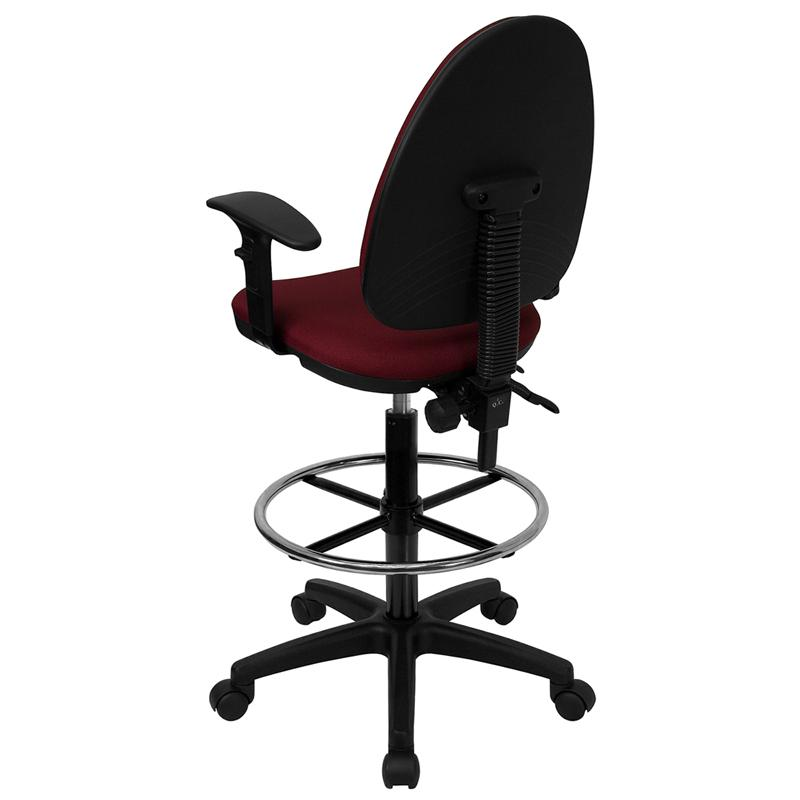 Burgundy Fabric Ergonomic Drafting Chair-Adjustable Lumbar Support, Adjustable Arms. Picture 3
