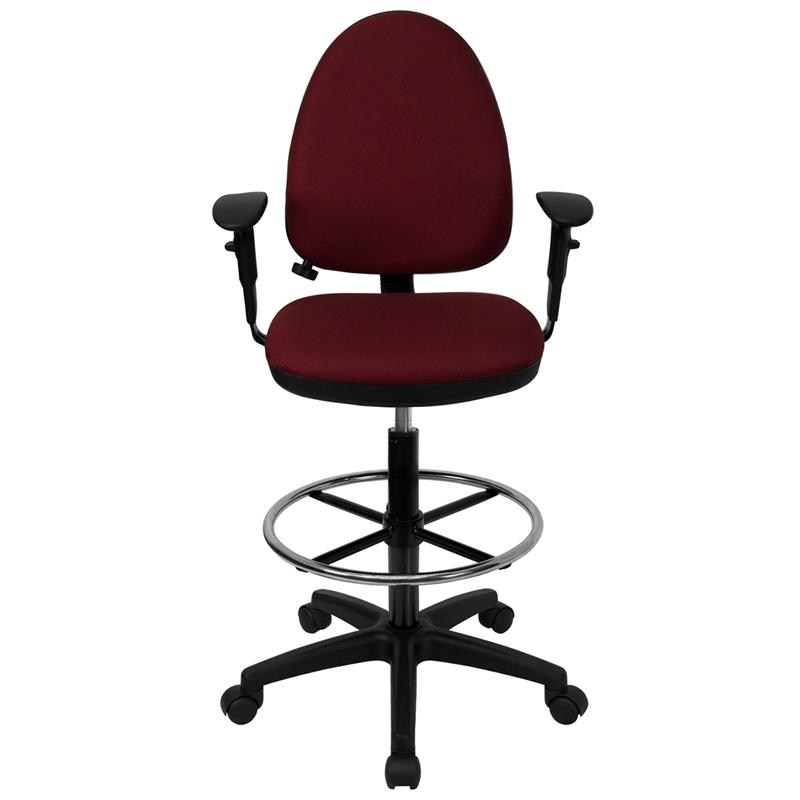 Burgundy Fabric Ergonomic Drafting Chair-Adjustable Lumbar Support, Adjustable Arms. Picture 4