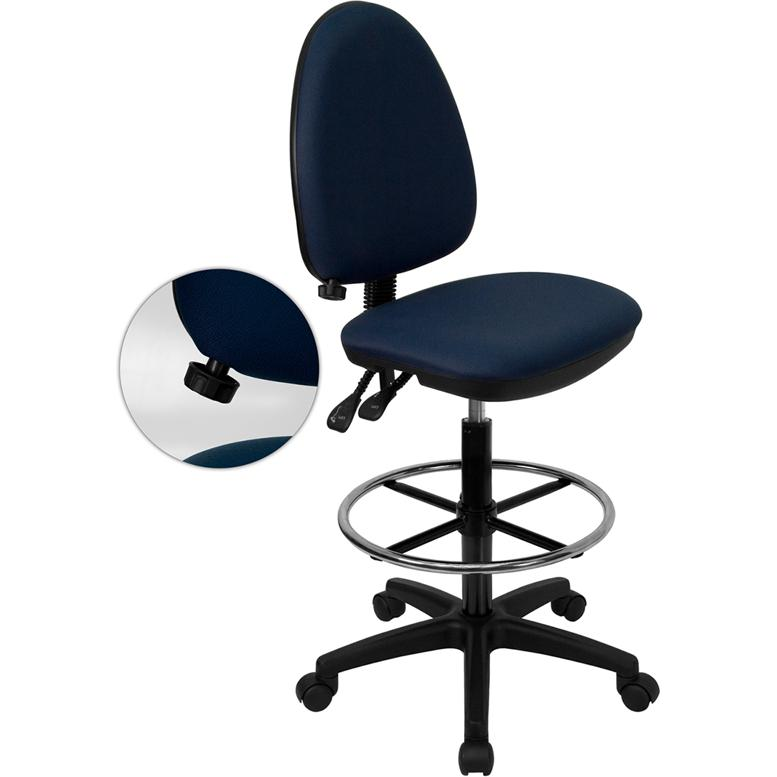 Navy Blue Fabric Ergonomic Drafting Chair with Adjustable Lumbar Support. Picture 1