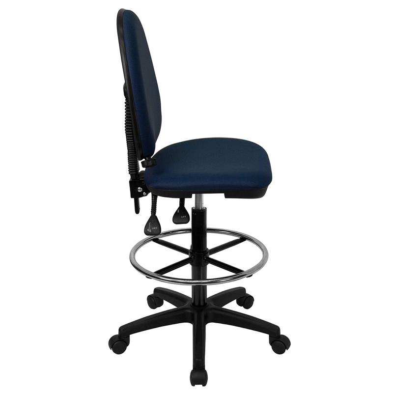 Navy Blue Fabric Ergonomic Drafting Chair with Adjustable Lumbar Support. Picture 2