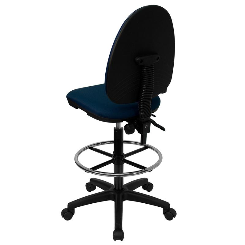 Navy Blue Fabric Ergonomic Drafting Chair with Adjustable Lumbar Support. Picture 3
