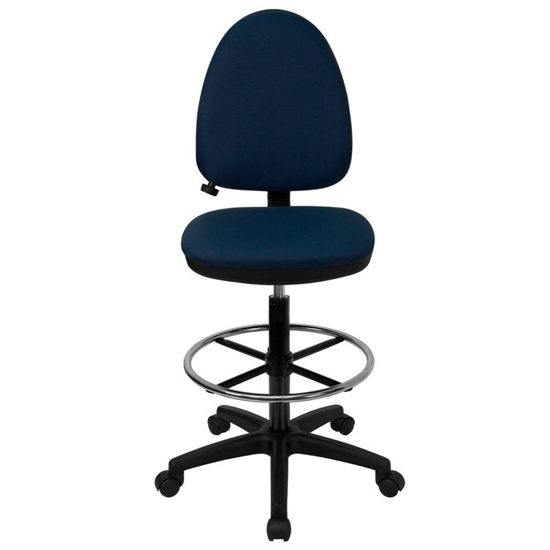 Navy Blue Fabric Ergonomic Drafting Chair with Adjustable Lumbar Support. Picture 4