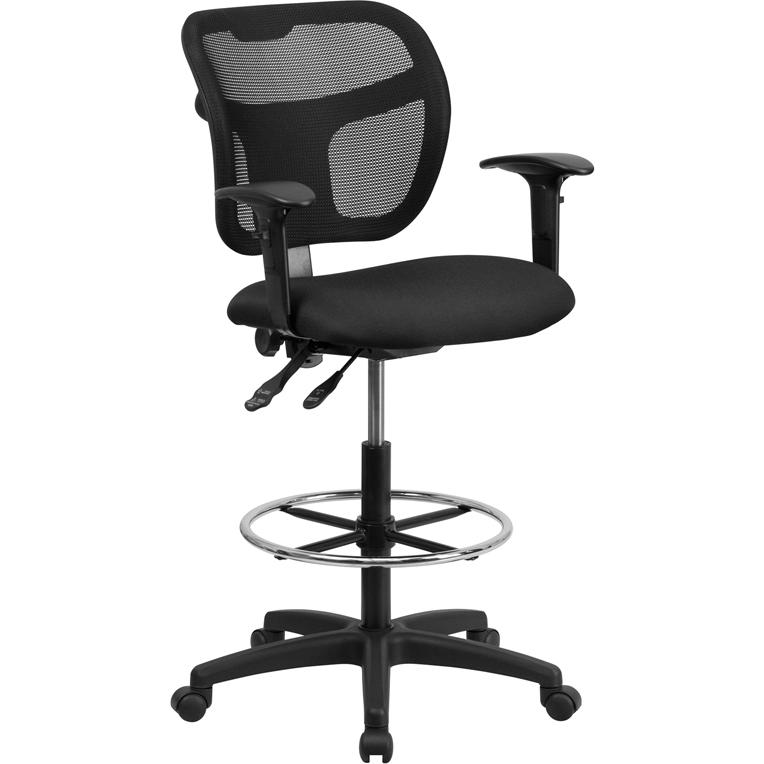 Mid Back Mesh Drafting Chair With Black Fabric Seat And Height Adjustable Arms