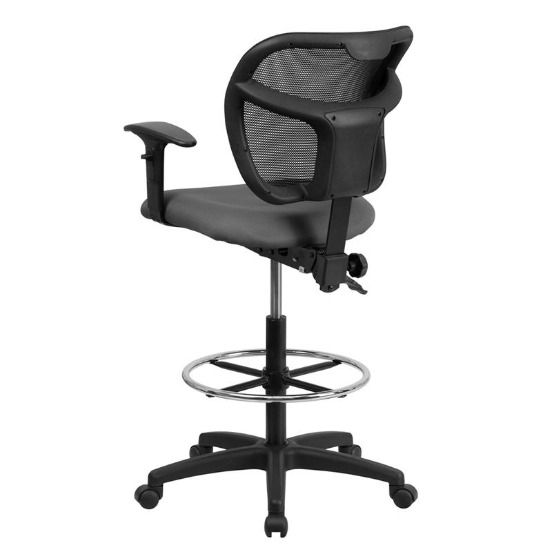 Gray Mesh Drafting Chair with Back Height Adjustment and Adjustable Arms