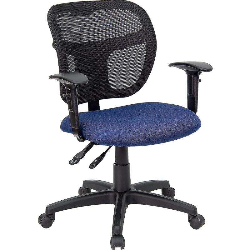 Mid Back Mesh Swivel Task Chair With Navy Blue Fabric Padded Seat And Height