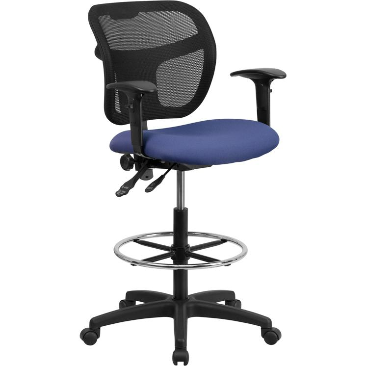 Navy Blue Mesh Drafting Chair with Back Height Adjustment and Adjustable Arms. Picture 1