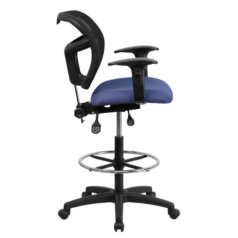 Navy Blue Mesh Drafting Chair with Back Height Adjustment and Adjustable Arms. Picture 2
