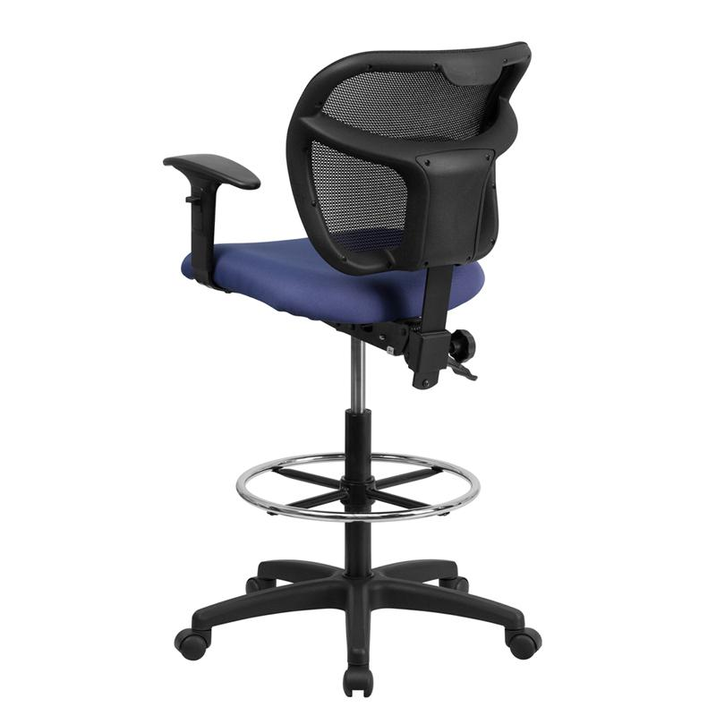 Navy Blue Mesh Drafting Chair with Back Height Adjustment and Adjustable Arms. Picture 3