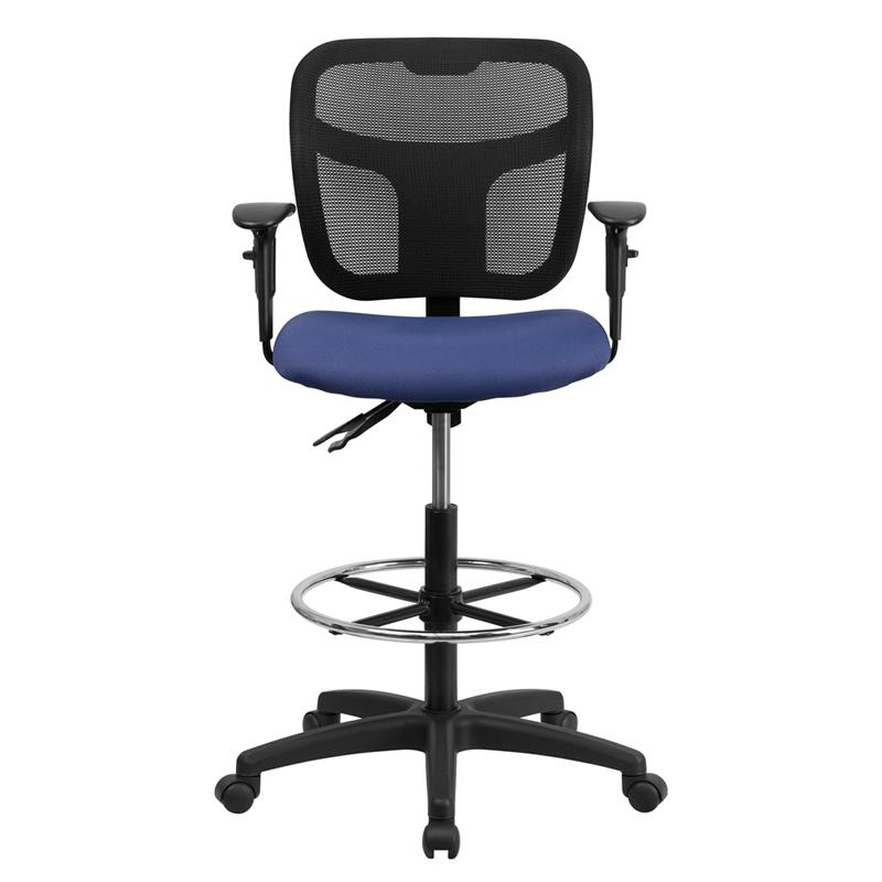 Navy Blue Mesh Drafting Chair with Back Height Adjustment and Adjustable Arms. Picture 4