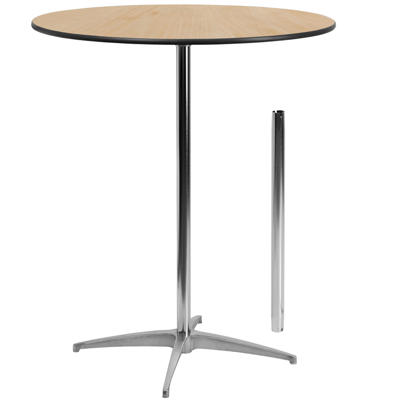 Round Wood Cocktail Table With And Columns - 36 inch round cocktail table