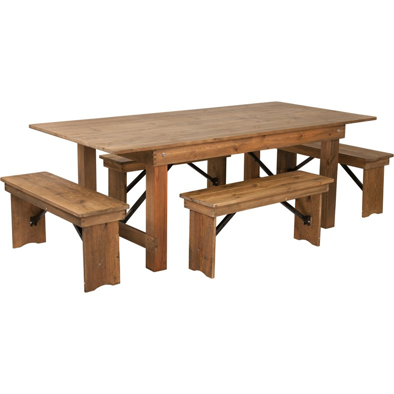 Hercules series 7 x 40 antique rustic folding farm table and four hercules series 7 x 40 antique rustic folding farm table and four bench set watchthetrailerfo
