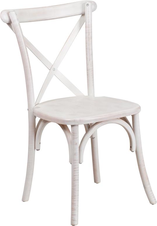 Hercules Series Limewash Wood Cross Back Chair