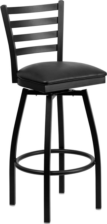 HERCULES Series Black Ladder Back Swivel Metal Barstool - Black Vinyl Seat. Picture 1
