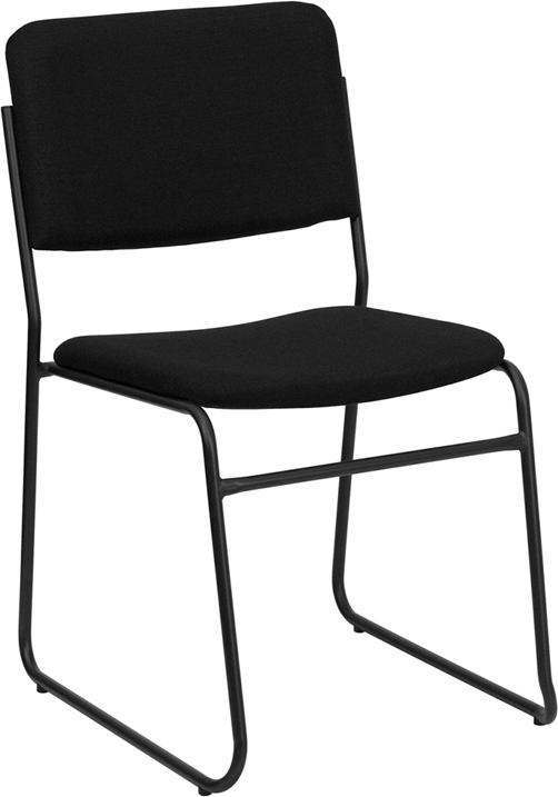 Bon Capacity High Density Black Fabric Stacking Chair With Sled Base