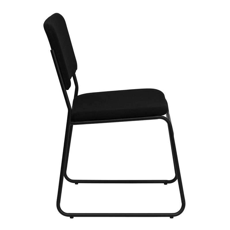 Capacity High Density Black Fabric Stacking Chair With Sled Base