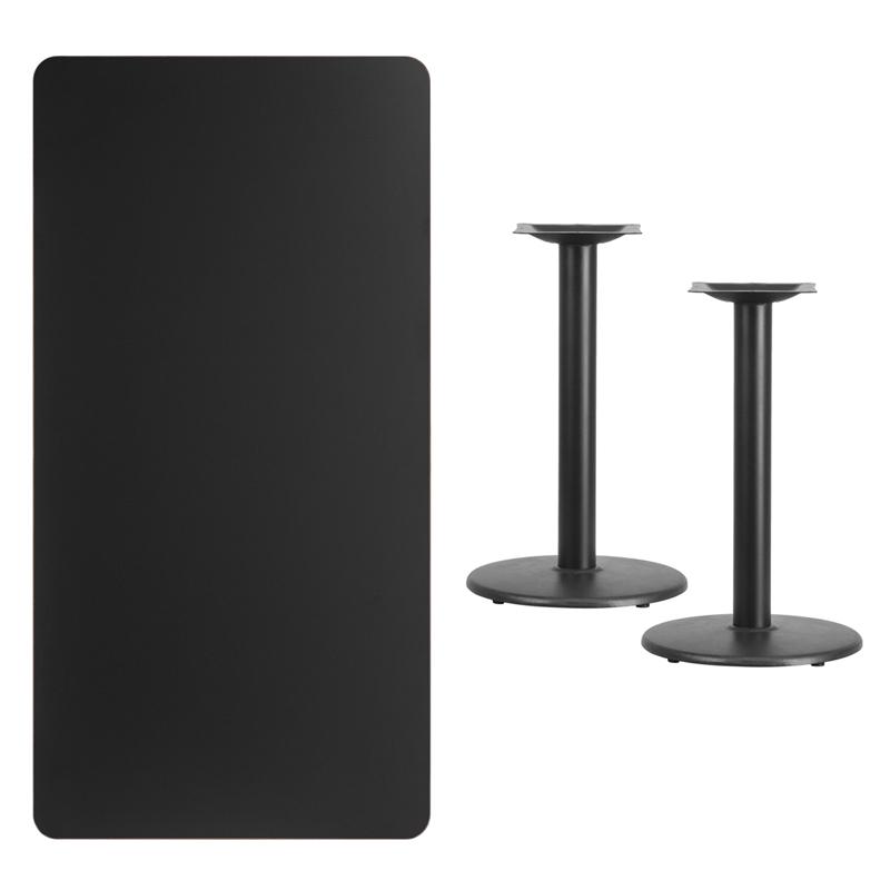 Charmant 30u0027u0027 X 60u0027u0027 Rectangular Black Laminate Table Top With 18u0027u0027 Round Table  Height Bases