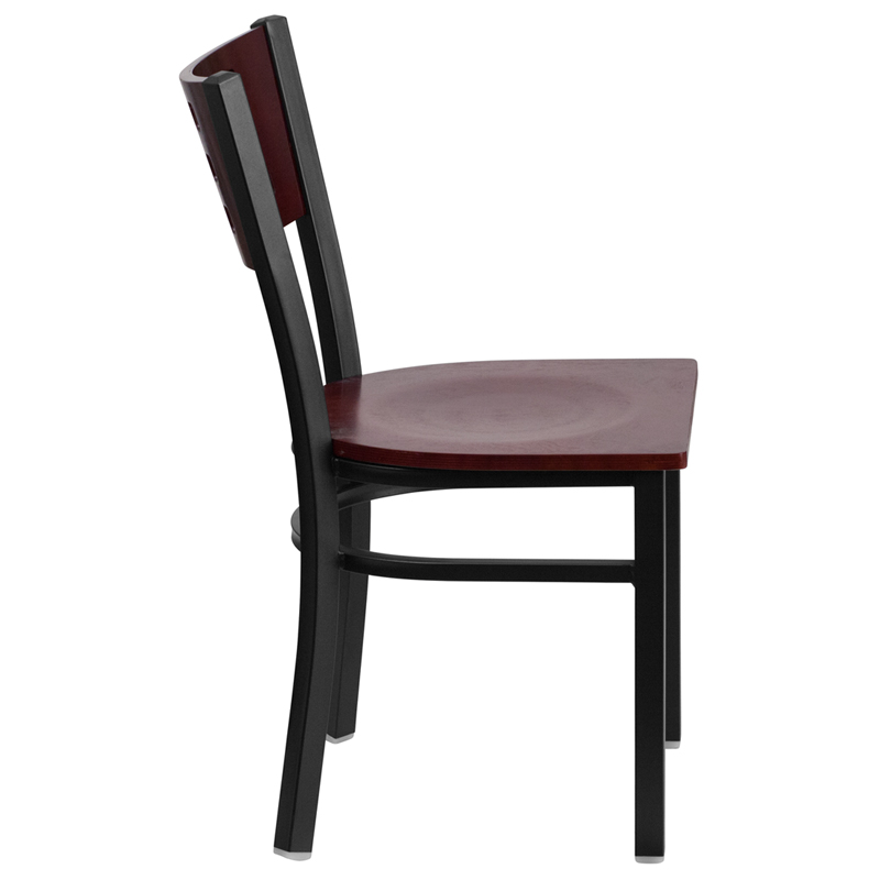 hercules series black cutout back metal restaurant chair mahogany