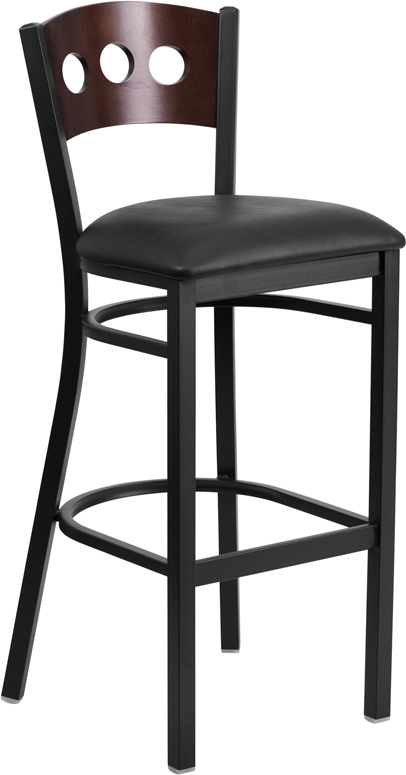 Hercules Series Black 3 Circle Back Metal Restaurant
