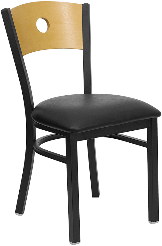 Attirant HERCULES Series Black Circle Back Metal Restaurant Chair   Natural Wood  Back, Black Vinyl Seat