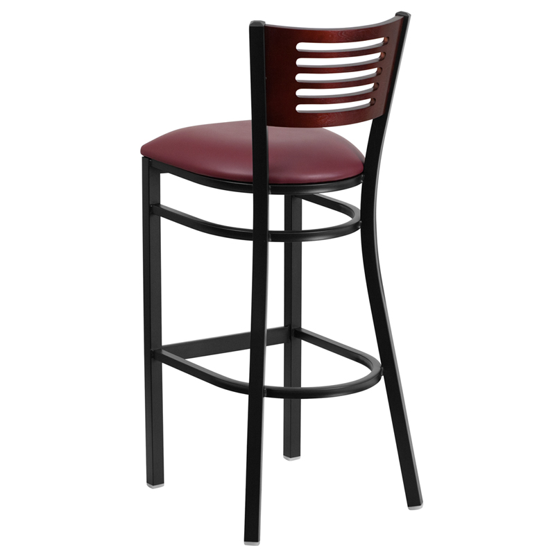 Hercules Series Black Slat Back Metal Restaurant Barstool