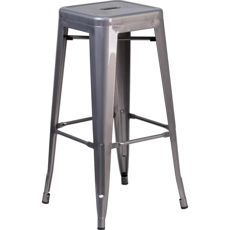 30 High Backless Clear Coated Metal Indoor Barstool With