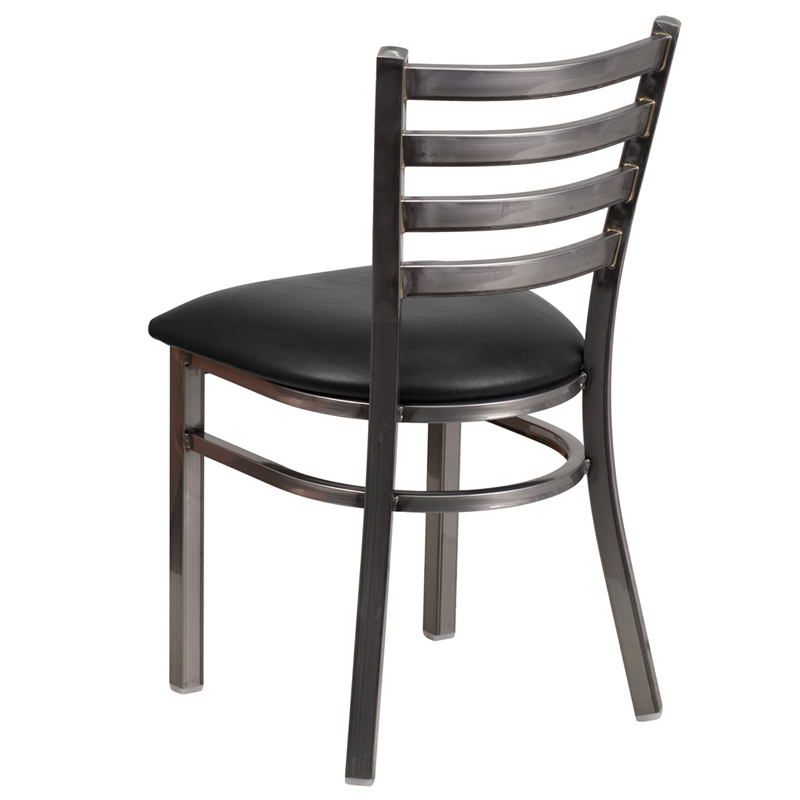 HERCULES Series Clear Coated Ladder Back Metal Restaurant Chair - Black Vinyl Seat  sc 1 st  Bison Office & HERCULES Series Clear Coated Ladder Back Metal Restaurant Chair ...