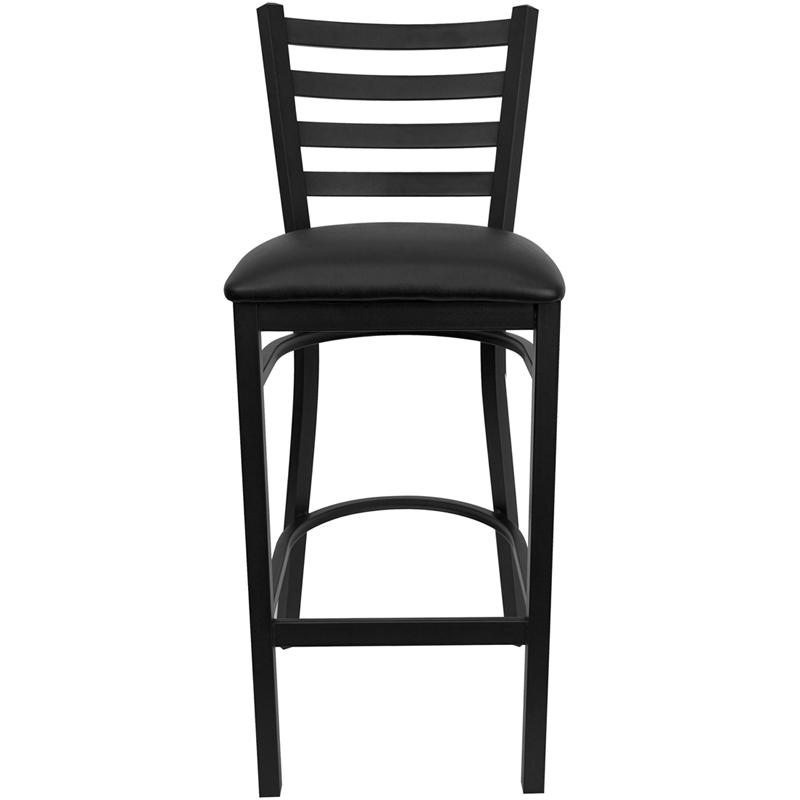 HERCULES Series Black Ladder Back Metal Restaurant Barstool   Black Vinyl  Seat