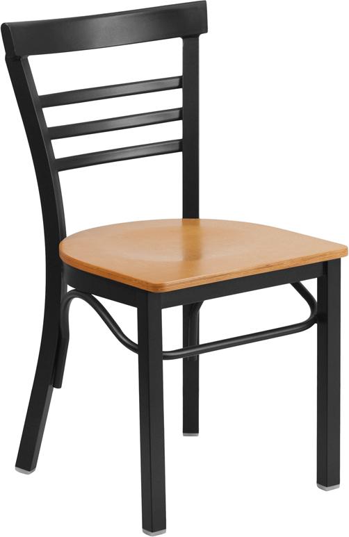 HERCULES Series Black Ladder Back Metal Restaurant Chair   Natural Wood Seat