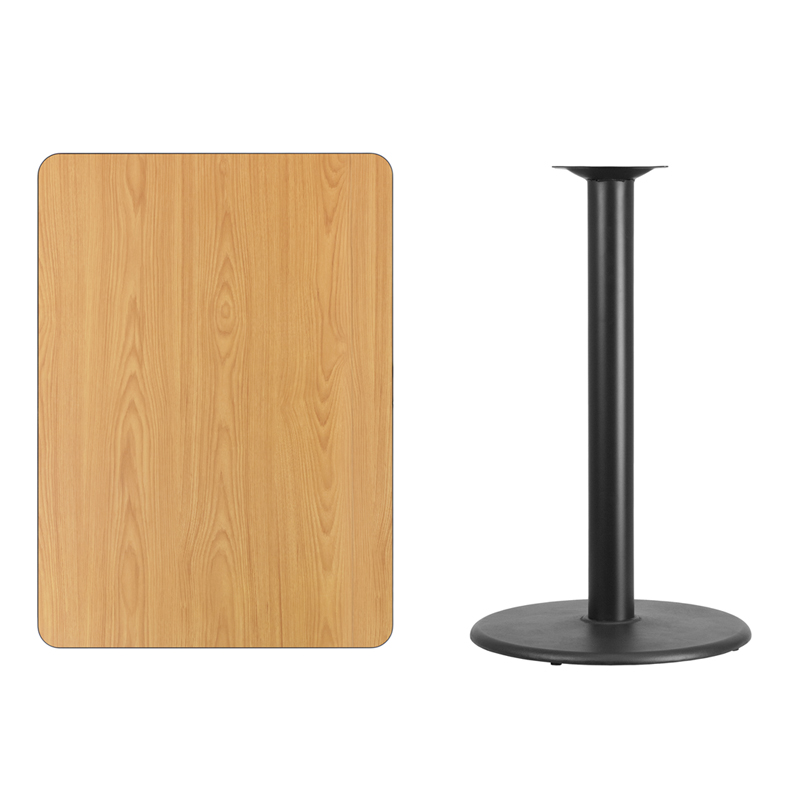 X Rectangular Natural Laminate Table Top With Round - 24 x 24 restaurant table