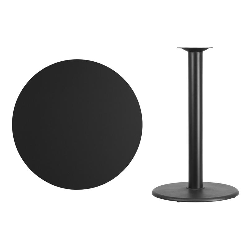 36u0027u0027 Round Black Laminate Table Top With 24u0027u0027 Round Bar Height Table Base