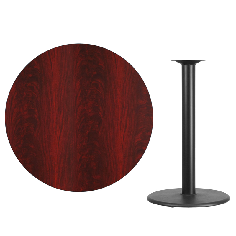 42u0027u0027 Round Mahogany Laminate Table Top With 24u0027u0027 Round Bar Height Table Base