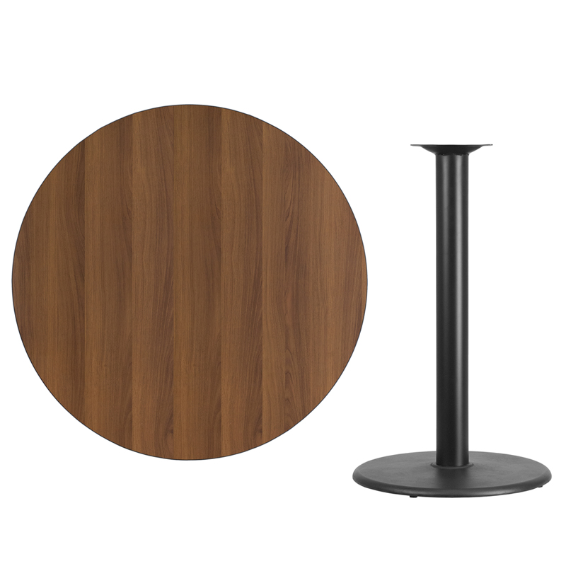 Ordinaire 42u0027u0027 Round Walnut Laminate Table Top With 24u0027u0027 Round Bar Height Table Base