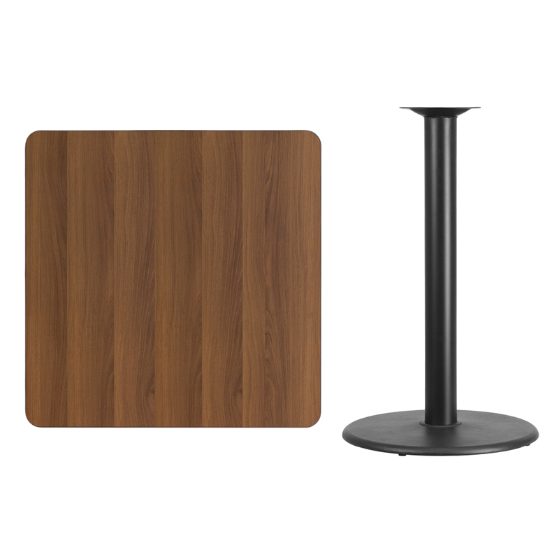 36u0027u0027 Square Walnut Laminate Table Top With 24u0027u0027 Round Bar Height Table Base