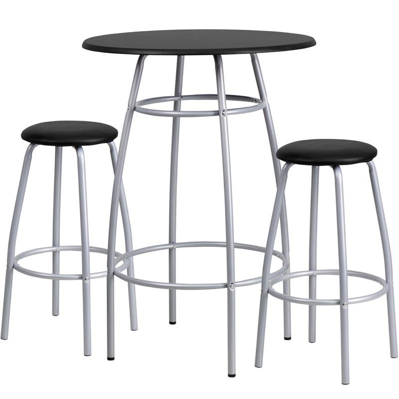 Bar Height Table Set with Padded Stools. Picture 1