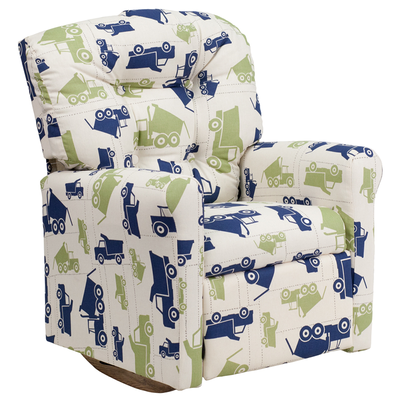 Kids Dump Truck Printed Fabric Rocker Recliner