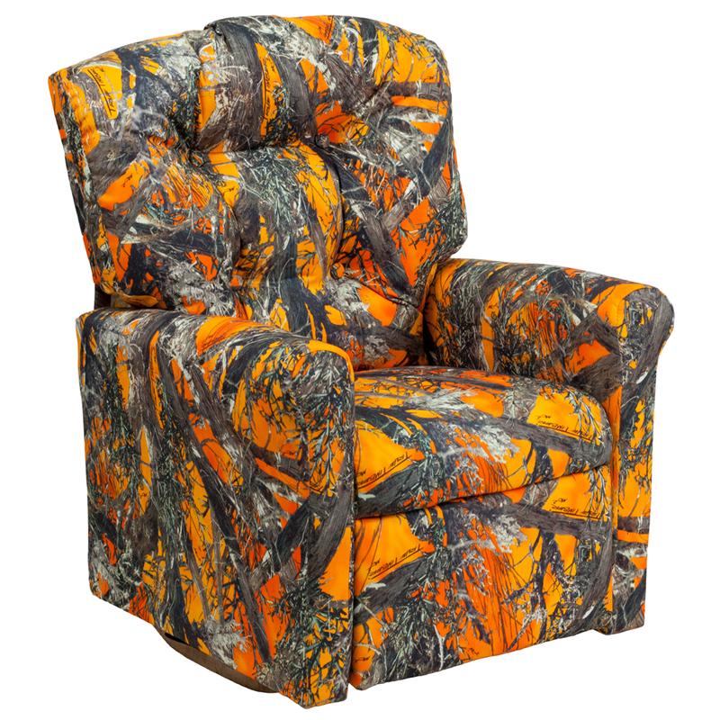 Kids Orange Camouflage Fabric Rocker Recliner