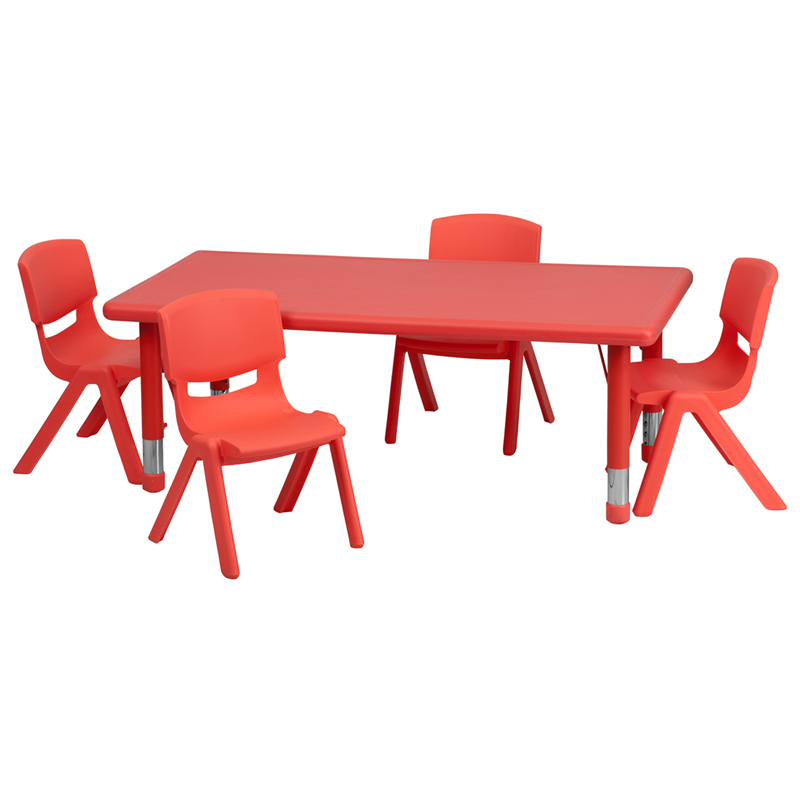 Attractive 24u0027u0027W X 48u0027u0027L Rectangular Red Plastic Height Adjustable Activity Table Set  With 4 Chairs