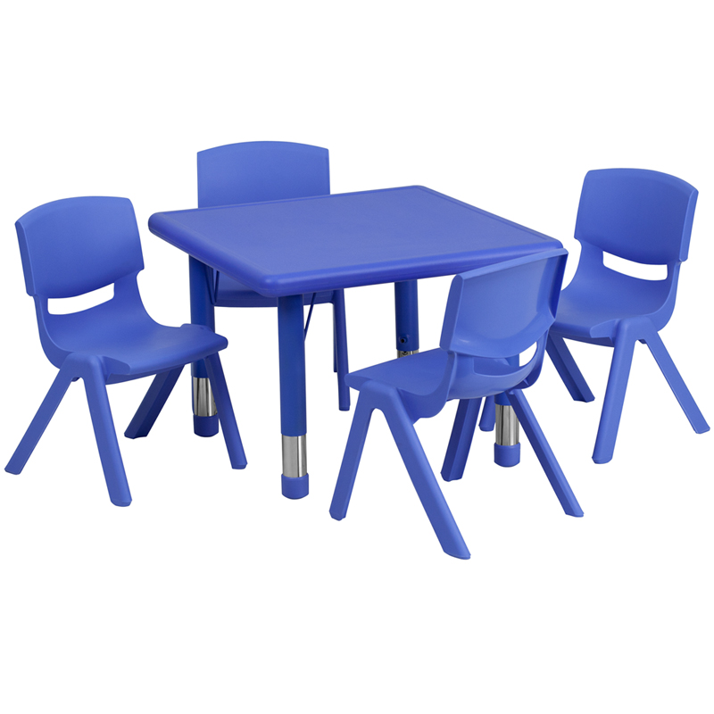 24u0027u0027 Square Blue Plastic Height Adjustable Activity Table Set With 4 Chairs