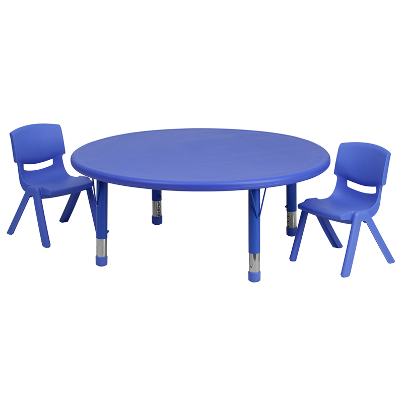 45u0027u0027 Round Blue Plastic Height Adjustable Activity Table Set With 2 Chairs