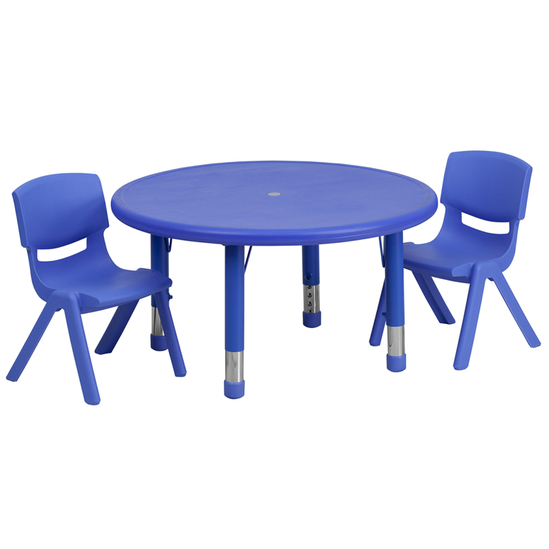 33u0027u0027 Round Blue Plastic Height Adjustable Activity Table Set With 2 Chairs