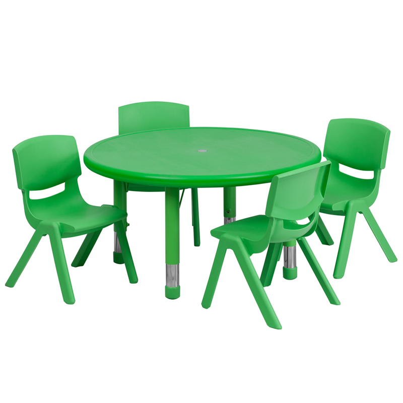 33u0027u0027 Round Green Plastic Height Adjustable Activity Table Set With 4 Chairs