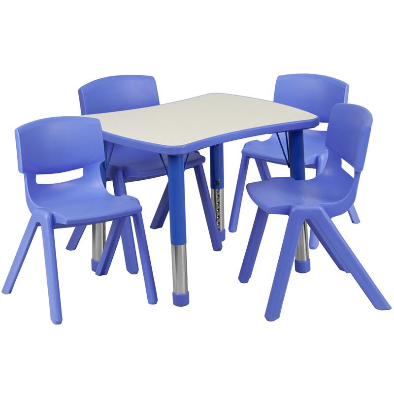 21.875u0027u0027W X 26.625u0027u0027L Rectangular Blue Plastic Height Adjustable Activity  Table Set With 4 Chairs